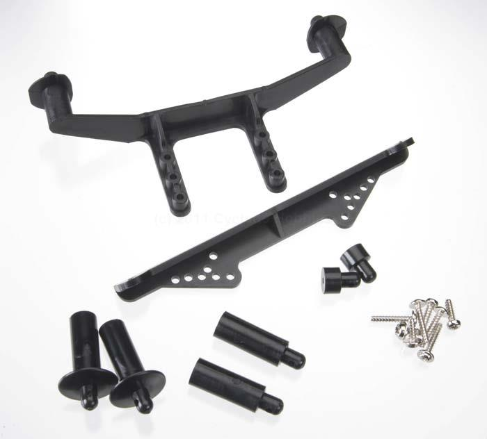 Traxxas Body Mount, Front and Rear, Black: Slash (TRA1914R)