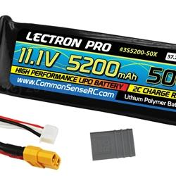 11.1V 5200mAh 50C Lipo Battery with XT60 Connector + CSRC adapter for XT60 batteries to Traxxas