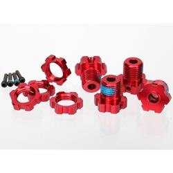 Wheel hubs, splined, 17mm (red-anodized) (4)/ wheel nuts, splined, 17mm (red-anodized) (TRA5353R)