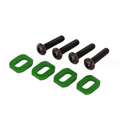 Maxx Washers, motor mount, aluminum (green-anodized) (4)/ 4x18mm BCS (4)